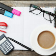 Coffee and office supplies — Stock Photo #65914199