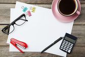 Coffee and office supplies  background — Stock Photo
