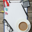 Coffee and office supplies — Stock Photo #67081355