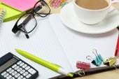 Coffee and office supplies — Stock Photo