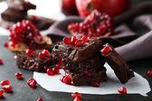 Chocolate fudge with pomegranate — Stock Photo