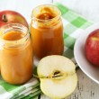 Jars of baby puree with apples — Stock Photo #68936027