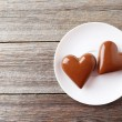 Chocolate hearts on plate — Stock Photo #70262955