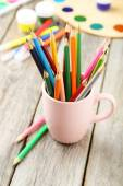 Colorful pencils in cup — Stock Photo