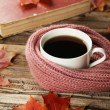 Coffee with autumn leaves and a warm scarf — Stock Photo #71403429