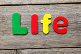 Life word made of colorful magnets — Stock Photo