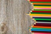Colour pencils on grey — Stock Photo
