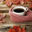 Coffee with autumn leaves and a warm scarf — Stock Photo #74097635
