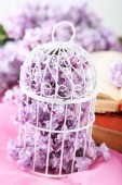 Lilac flowers in birdcage — Stock Photo