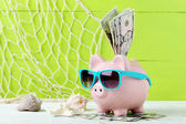 Pink piggy bank with dollars — Stock Photo
