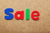 Sale word made of colorful magnets — Stock Photo