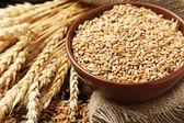 Buğday ve buğday tanelerinin kase — Stok fotoğraf