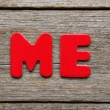 Me word made of colorful magnets — Stock Photo #79653400