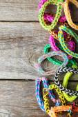 Colorful rubber band bracelets — Stock Photo