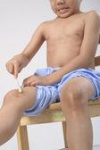 Uricaria występują w nodze dziecko — Zdjęcie stockowe