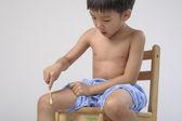 Uricaria occur in kid leg — Stock Photo