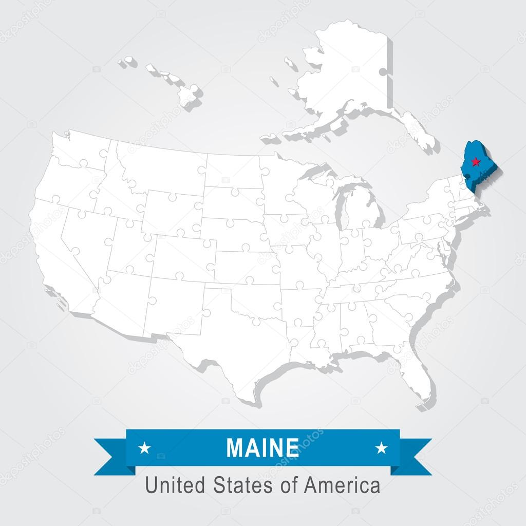 Maine State USA Administrative Map North America Puzzle  Stock - Maine on map of usa