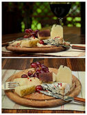 Wine glass and cheese plate — Stock Photo