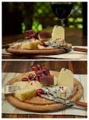 ワインのガラスとチーズ プレート — ストック写真