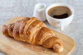 Coffee, milk and croissant — Stock Photo