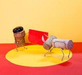 Matador and bull, made of cork — Stock Photo