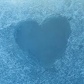 Frozen heart on Window — Stock Photo