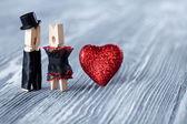 Romantic pins couple — Stock Photo