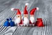 Christmas invitation. Clothespin Santa Claus — Stock Photo