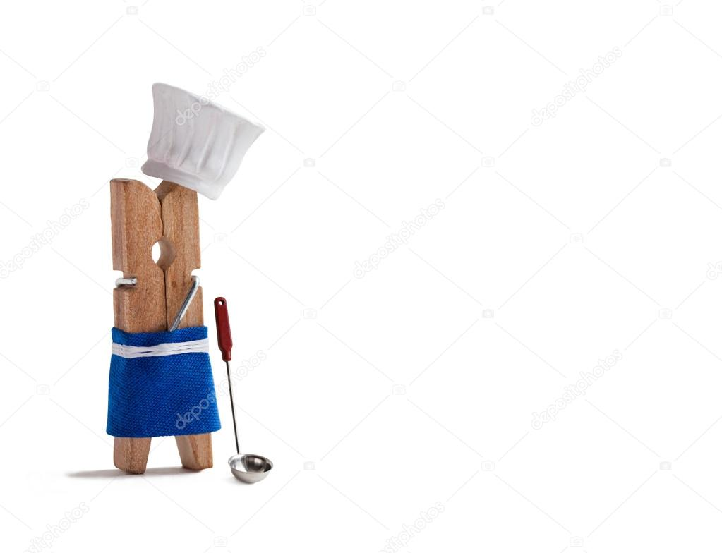 Blue apron restaurant - Funny Clothespin Restaurant Character Dressed In White Hat Blue Apron Restaurant Menu Cookbook Design Template White Background Copy Space Photo By