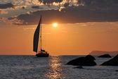 Sailing ship and sunset — Stock Photo