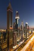 Dubai skyscrapers in sunset light. Dubai blue hour. — Stock Photo