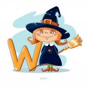Cartoons Alphabet - Letter W with funny Witch — Stock Vector