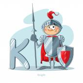 Cartoons Alphabet - Letter K with funny Knight — Stock Vector