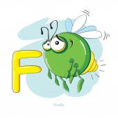 Cartoons Alphabet - Letter F with funny Firefly — Stock Vector