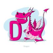 卡通字母-字母 D 与滑稽龙 — 图库矢量图片