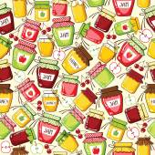 Seamless pattern with canned jar — Stock Vector