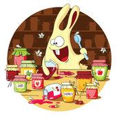 Cartoon bunny eats jam — Stock Vector