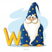Cartoons Alphabet - Letter W with funny Wizard — Stock Vector
