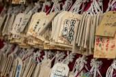 Primo piano di molte carte che desidera in legno — Foto Stock