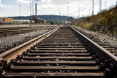 Nobody at a straight railroad track — Stock Photo