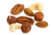 Closeup of mixture of different peanuts — Stock Photo