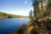 Hikers at the Repovesi national park — Stock Photo