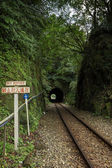 """""""No entry"""" sign and railway track into a tunnel — Stockfoto"""