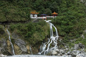 Waterfall and Eternal Spring Shrine at Taroko, Taiwan — Stock Photo