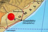 Pin on a map of Mogadishu — Stock Photo