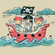 Three pirates illustration. — Stock Vector #62896531