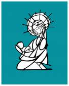 Blessed Virgin Mary contour drawing — Stock Vector