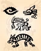 Prehispanic reptiles  figures — Stock Vector