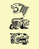 Prehispanic jaguars illustration — Vetor de Stock