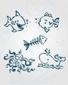 Sea creatures  Hand drawn — Stock Vector